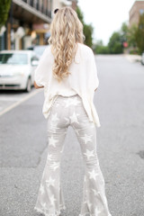 Distressed Star Flare Jeans Back View