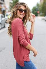 Oversized Top in Marsala Side View