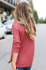 Oversized Top in Marsala Back View