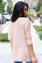 Oversized Top in Blush Back View
