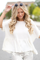 Ivory - Oversized Peplum Top