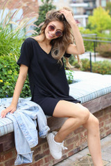 Black - Oversized Split Hem Tee from Dress Up