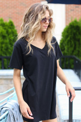 Model wearing an Oversized Split Hem Tee