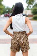 Leopard Paperbag Waist Shorts Back View