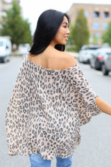 Leopard Oversized Knit Top Back View