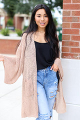 Natural - Dress Up model wearing a Lightweight Knit Cardigan