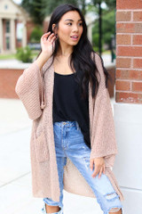 Natural - Model wearing a Lightweight Knit Cardigan with a black tank top