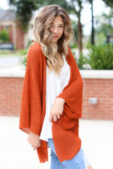 Lightweight Knit Cardigan in Rust Side View