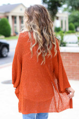 Lightweight Knit Cardigan in Rust Back View