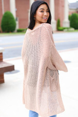 Lightweight Knit Cardigan in Natural Back View