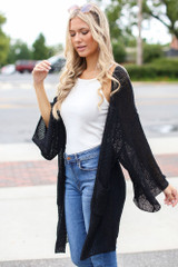 Lightweight Knit Cardigan in Black Side View