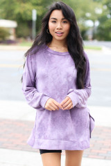 Purple - Oversized Tie-Dye Pullover