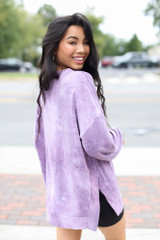 Oversized Tie-Dye Pullover in Purple Back View