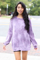 Oversized Tie-Dye Pullover in Purple Front View