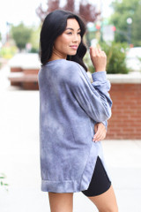 Oversized Tie-Dye Pullover in Charcoal Back View