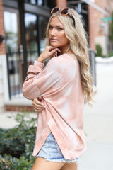 Oversized Tie-Dye Pullover in Taupe Side View