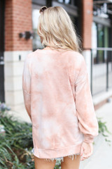 Oversized Tie-Dye Pullover in Taupe Back View