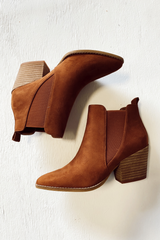 Flat Lay of Microsuede Block Heel Booties