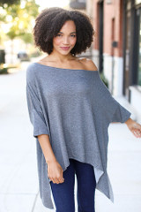 Charcoal - Dress Up model wearing a Soft Knit Oversized Top