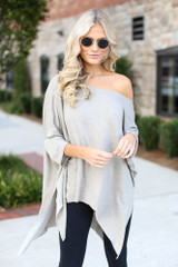 Taupe - Dress Up model wearing a Soft Knit Oversized Top with black leggings