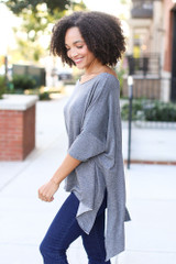 Soft Knit Oversized Top in Charcoal Side View