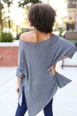Soft Knit Oversized Top in Charcoal Back View
