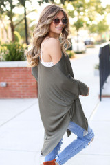 Soft Knit Oversized Top in Olive Side View