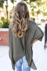 Soft Knit Oversized Top in Olive Back View