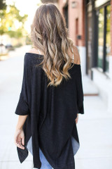 Soft Knit Oversized Top in Black Back View