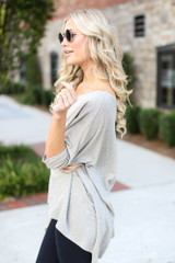 Soft Knit Oversized Top in Taupe Side View