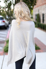 Soft Knit Oversized Top in Taupe Back View