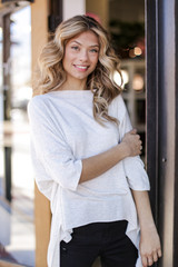 Heather Grey - Model wearing a Soft Knit Oversized Top