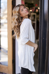 Soft Knit Oversized Top in Heather Grey Side View