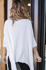 Soft Knit Oversized Top in Heather Grey Back View