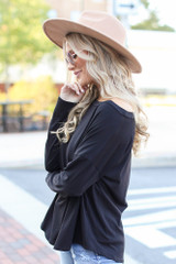 Basic Oversized Tee in Black Side View