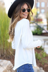 Basic Oversized Tee in White Side View