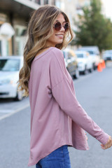 Basic Oversized Tee in Mauve Side View