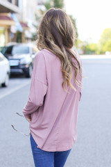 Basic Oversized Tee in Mauve Back View
