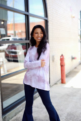 Oversized Tie-Dye Top in Mauve Front View