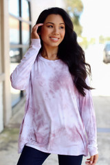 Mauve - Oversized Tie-Dye Top