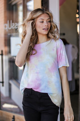 Pink - Dress Up model wearing a Tie-Dye Tee
