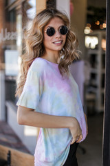Tie-Dye Tee in Pink Side View
