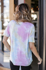 Tie-Dye Tee in Pink Back View