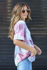 Tie-Dye Babydoll Top in Wine Side View