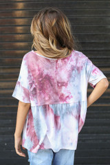 Tie-Dye Babydoll Top in Wine Back View