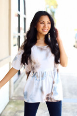 Taupe - Dress Up model wearing a Tie-Dye Babydoll Top