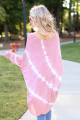 Oversized Tie-Dye Top in Mauve Back View