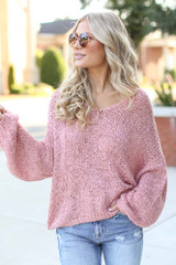 Pink - Oversized Loose Knit Sweater