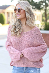 Pink - Oversized Loose Knit Sweater from Dress Up