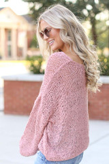 Oversized Loose Knit Sweater in Pink Side View